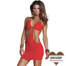 ABITO SEXY DRESS WITH ABSTRACT CUTOUTS RED TAGLIA L