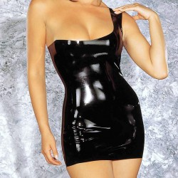 "ABITO CORTO ""UPTOWN GIRL""  IN LATEX  NERO LUCIDO CON UNA SPALLINA LATTICE L"
