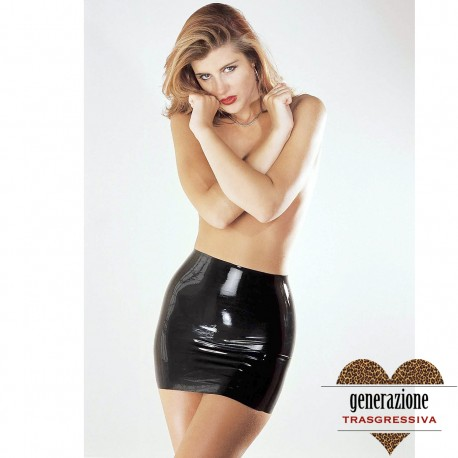 "Sexy Shop MINI GONNA ""MINI SKIRT"" IN LATEX NERO LUCIDO MISURA L"